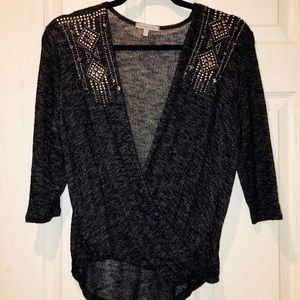 Studded Sequins Twist Front Sweater Grey